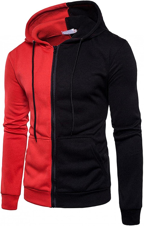 Men's Hoodies Pullover, Men's Hipster Hip Hop Hoodie Casual Half Color Block Symmetry Loose Outwear Hoodies Comfy Hoody