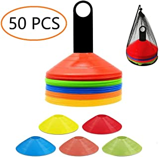 ANSLYQA Disc Cones (Set of 50) Agility Training Soccer Cones with Carry Bag and Holder for Football Basketball Sports Field Cone Markers