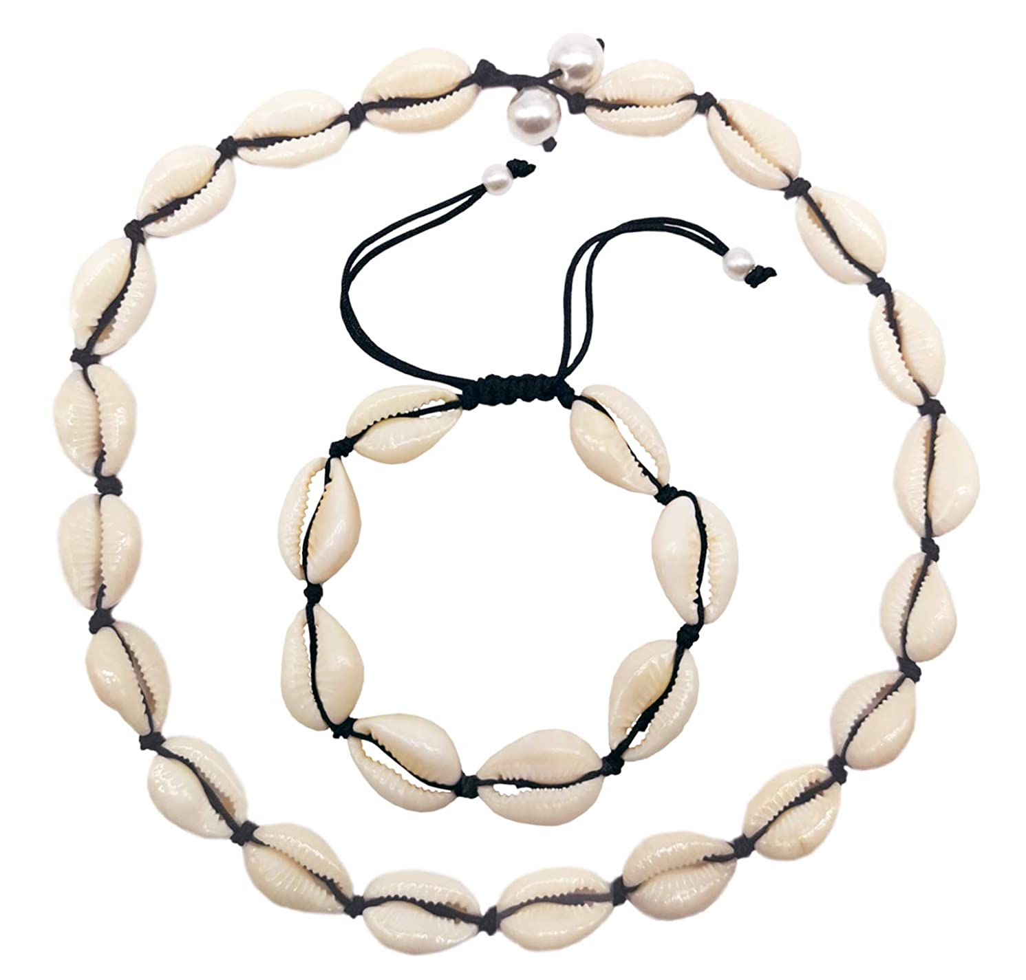 LOHZAQ Natural Sea Shell Beads Handmade Hawaii Wakiki Beach Choker Necklace Adjustable Bracelet Anklet for Girls Ladies