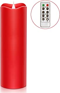 Remote Control 3D Moving Flame Led Candle with Timer, Battery Operated Candle for Home and Christmas Decoration, 3x9 Inch, Red
