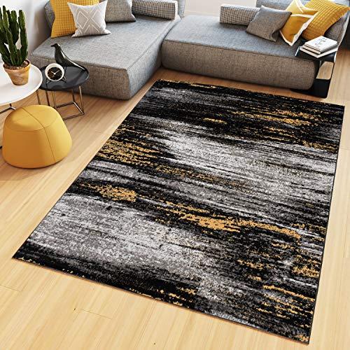 Tapiso Maya Teppich Kurzflor Modern Verwischt Meliert Streifen Design Schwarz Grau Gelb Weiß Wohnzimmer Schlafzimmer ÖKOTEX 250 x 350 cm