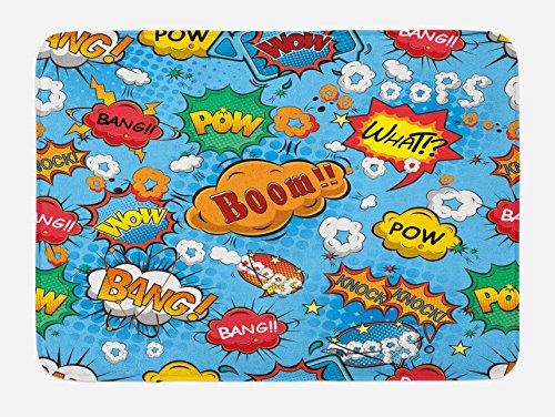 "Lunarable Superhero Bath Mat, Colorful Comic Style Effects Boom Scream Magazine Signs Pop Art Illustarion, Plush Bathroom Decor Mat with Non Slip Backing, 29.5"" X 17.5"", Blue"