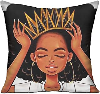 SARA NELL Velvet Throw Black Girl Pillow Case,African American Women Girl with Crown,Pillow Cover Afro Girls Queen Decorative 18X18 in Pillowcase Cushion Covers with Zipper