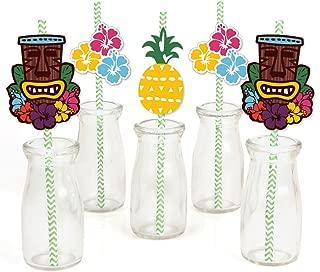 Tiki Luau Paper Straw Decor - Tropical Hawaiian Summer Party Striped Decorative Straws - Set of 24
