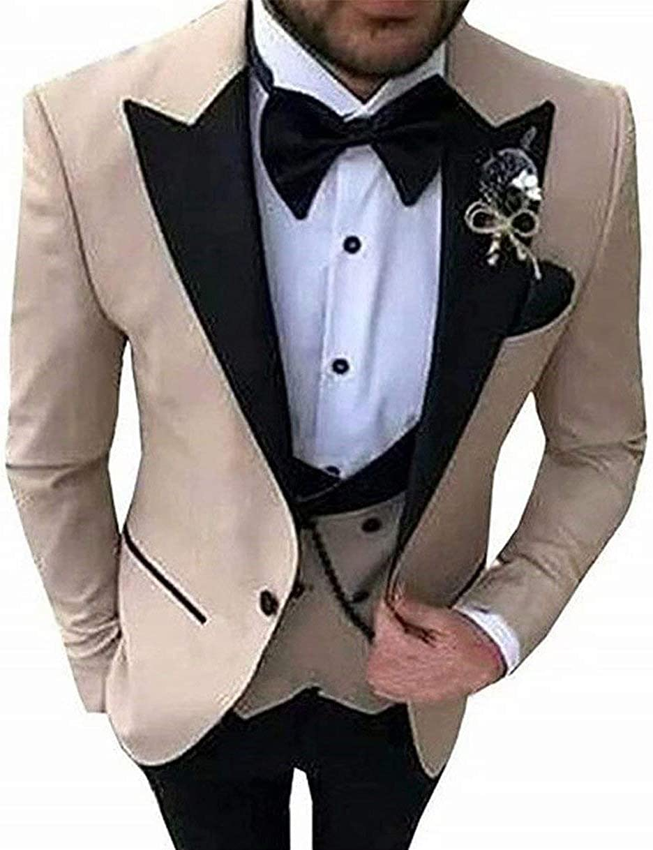Cheap mail order specialty store Onlylover Men's 3 PC Khaki Notch Industry No. 1 Lapel Slim Gr Fit Suits Wedding