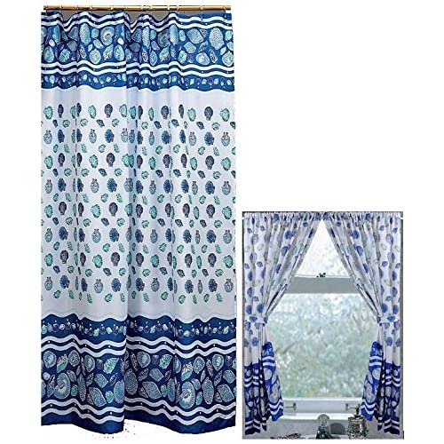 Home Fashions Ocean Blue Sea Shells Shower And Window Curtain Set