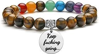 Jovivi 7 Chakra Bracelet Natural Gemstone Yoga Beads Reiki Healing Crystals Beaded Stone Stretch Bracelets with Inspirational Charm