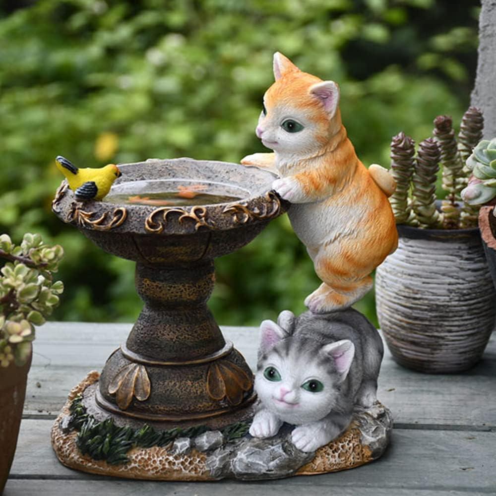 Garden Statue Bird Bath Figurine - Solar Powered Resin Cats Bird Fish Sculpture, Indoor Outdoor Decorations, Patio Lawn Yard Ornaments, Garden Décor Gift, 8.2