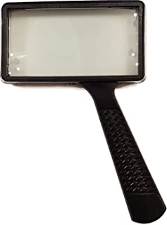 Create Jumbo Rectangular Magnifying Glass for Reading (3X Magnification), Real Glass Lens, Large Rectangle Viewing Area, Perfect for Fine Print, and Hobbies.