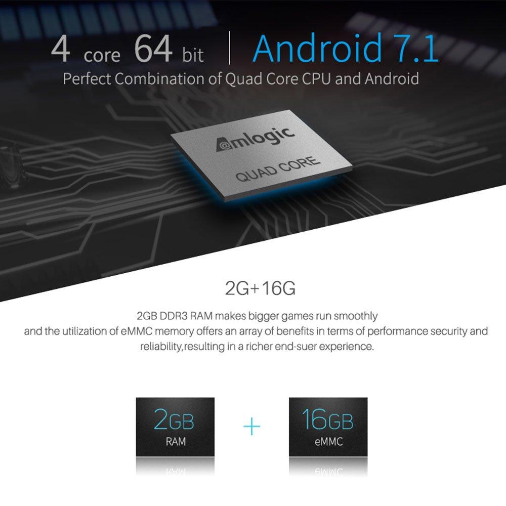 Docooler MECOOL KII Pro Android TV Box + DVB-S / S2 y DVB-T / T2 y DVB-C STB Android 7.1 Amlogic S905D Quad-Core 2GB / 16GB 4K 2.4G y 5.0G WiFi y