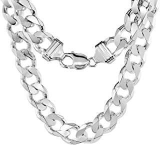 Sterling Silver Thick 9-17 mm Curb Cuban Link Chain Necklaces Nickel Free Italy 18-30 inches