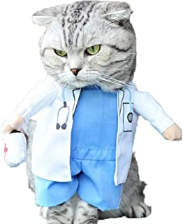 Hotumn Cat Dog Costume Pet Doctor Nurse Clothing Outfit Apparel Uniform Halloween Jeans
