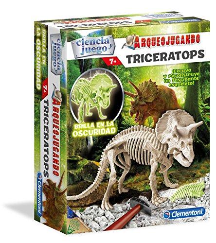 Clementoni- Arqueo Jugando Triceratops Fluorescente, Multicolor (550319)