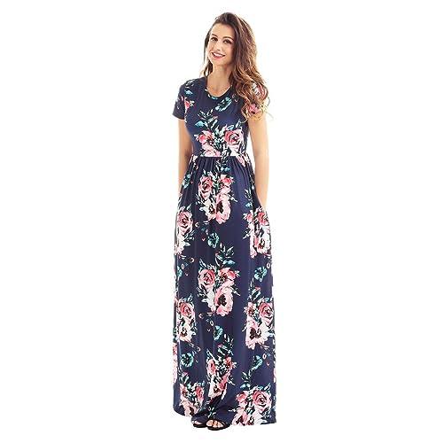 716a7246e5 HOTAPEI Women's Floral Print Long Dress Short Sleeve Empire Flower Maxi  Dresses