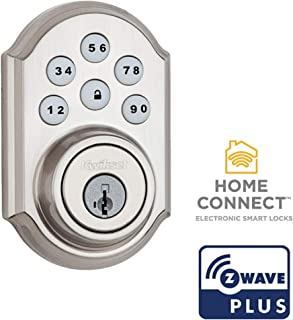Kwikset 99100-078 SmartCode 910 Traditional Smart Keypad Electronic Deadbolt Door Lock with SmartKey Security and Z-Wave Plus, Satin Nickel
