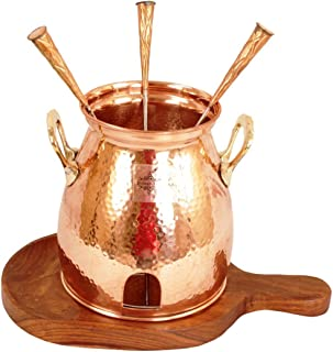 IndainArtVilla Handmade Copper Table Tandoor With Wooden Bottom, Best for Hotel & Restaurant, 8'' Inch Width