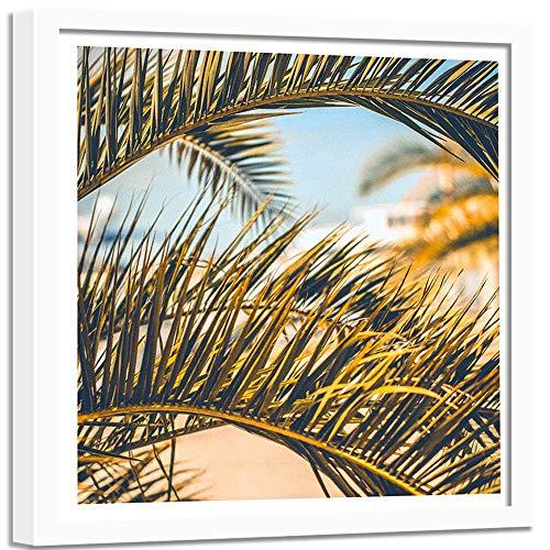 Tableau cadre blanc Nature Exotique Impression Art Feuillage Plante vert 60x60 cm