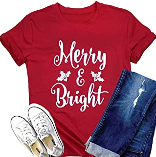Merry and Bright Christmas T Shirts Womens Merry Christmas Letter Printed Shrot Sleve Holiday Shirt Tee Tops