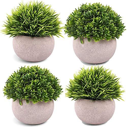 TURMIN Plantas Artificiales Plásticas de Maceta, Set de 4 Planta Artificial Decorativa con Césped Verde en Macetas Grises, Plantas Pequeñas para la Decoración de la Casa Cocinas Oficinas