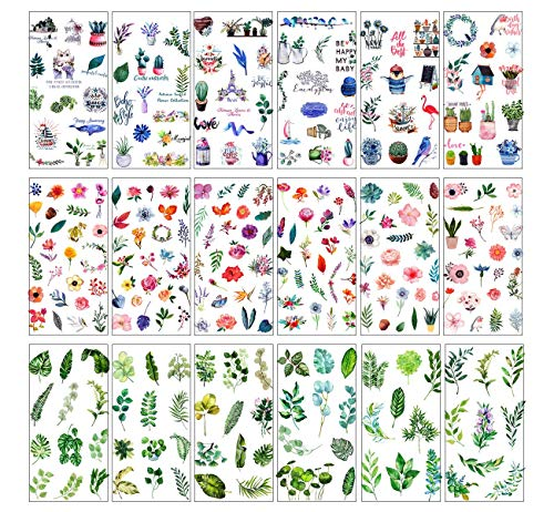 Scrapbooking Stickers, 18 Sheets (300PCS) Self Adhesive Stickers Green Plant Leaves Flowers Planner Stickers Set for Diary, Album, Notebook, Bullet Journal, DIY Arts and Crafts, Calendars (Color#C)