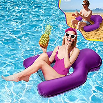 Pool Floats No Pump Required Latest U-Shape Inflatable Floating Lounger Chair with Hand Pouch Lightweight Durable Nylon Fabric Multi-Purpose Swimming Chair Water Hammock Raft Perfect for Adult & Kids