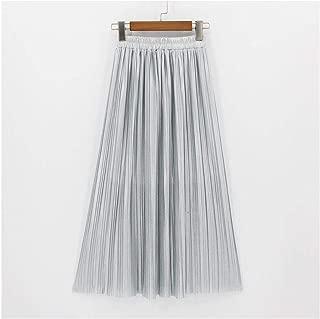 A Perfect Pleated skirt Falda Plisada hasta el Tobillo, Falda Larga clásico, Falda metálica para Mujer
