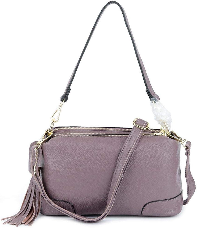 Huasen Evening Bag Leather Lady Bag MultiFunction Large Capacity Single Shoulder Bag Messenger Satchel Party Handbag (color   D)