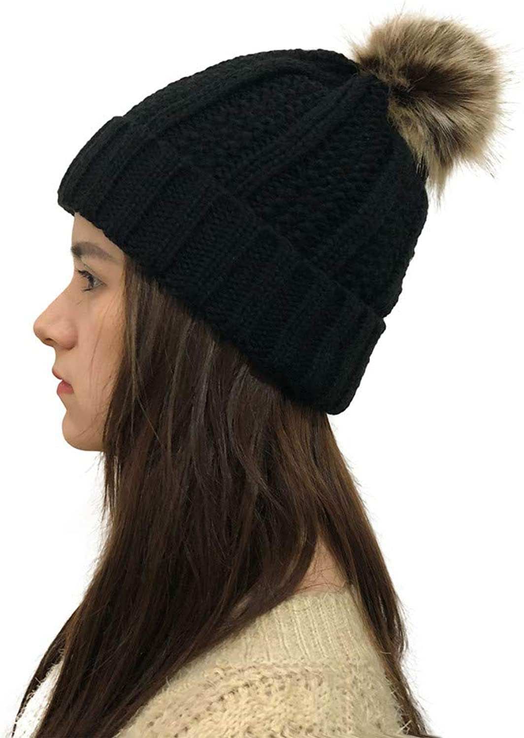 Hurrybuy Women Knit Beanie Chunky Baggy Hat with Faux Fur Pompom Winter Warm Cap
