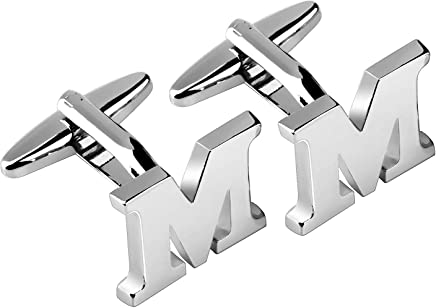 Zodaca Mens Silver Alphabet Cufflink Cuff Link Wedding Formal Business Initial Letter M