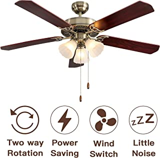 RH RUIVAST 52-inch Indoor Ceiling fan,with Pull Chain Control,Wood Fan Blade Match Green Bronze Cover for Dining Room Bedroom Living Room Kitchen and Restaurant.