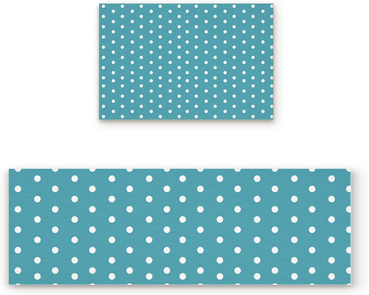 Aomike 2 Piece Non-Slip Kitchen Mat Rubber Backing Doormat Teal and White Dots Runner Rug Set, Hallway Living Room Balcony Bathroom Carpet Sets (19.7  x 31.5 +19.7  x 63 )