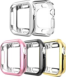 Compatible with Apple Watch Case Series 5 Series 4 40mm,5 Pack New iWatch TPU Cases Protective Cover Bumper Compatible with Apple Watch Series 5 Series 4 (40mm-5Pack)