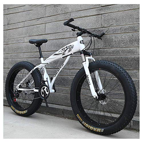 Adult Mountain Bikes, Boys Girls Fat Tire Mountain Trail Bike, Dual Disc Brake Hardtail Mountain Bike, High-Carbon Steel Frame, Bicycle,Blue E,26 Inch 21 Speed