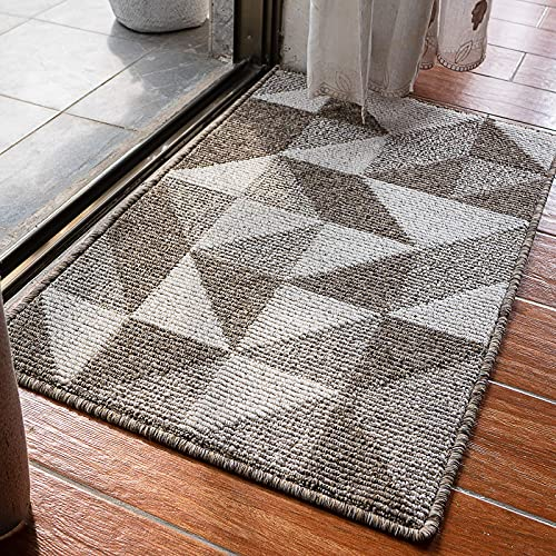 Felpudo de interior para puerta delantera, con diseño simple, antideslizante, con alfombras de goma duraderas para entrada en casa, sala de estar, interior y exterior, 50 x 80 cm, color marrón