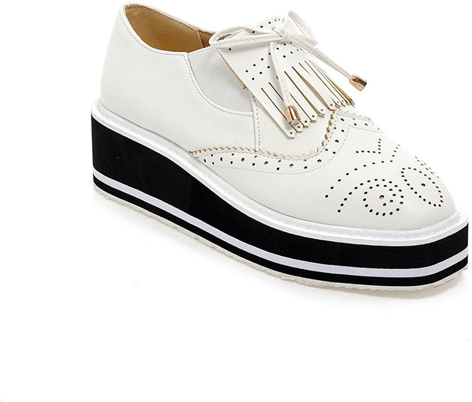 Lucksender Womens Fashion Platform Wedge Heel Oxfords shoes with Tassels and Bowknot