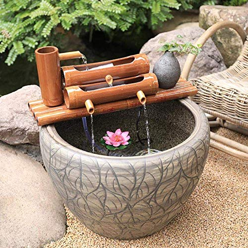 LXYZ Bambusbrunnen Wasserspiel Gartenbrunnen Pumpe Skulpturen Statuen Inneneinrichtung Kunsthandwerk Dekor Für Wasserfall Outdoor Japanisches Gartenmerkmal, 40cm