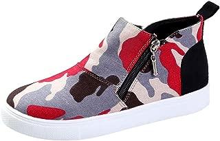 VonVonCo Boots Size Sports Formal Women's Ladies Fashion Ankle Leopard Camouflage Flat Zipper Short Shoes