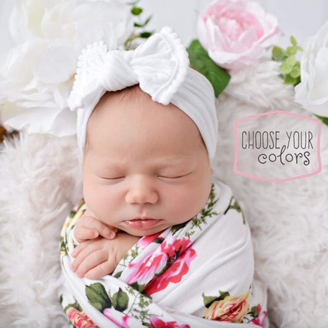 CanB Baby Hair Bow Headband Infant Toddler Bow Stretchy Knot Nylon Baby Headbands Baby Accessories(White)