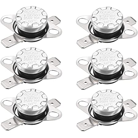 Adjust Snap Disc Limit Control Switch Microwave Thermostat Thermal Switch 55/°C 10A Normally Open N.O 5pcs uxcell KSD301 Thermostat