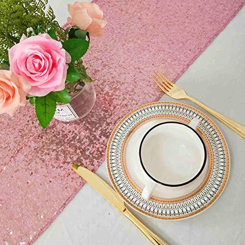 ShinyBeauty Sparkly Rosa Gold Pailletten Tischläufer für Hochzeit/Events Dekoration 30 * 180 cm (Rosa Gold, 1)