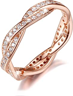 Twist Fate 2 Bands Eternity Promise Rings Love Wedding Jewelry Sets in 925 Sterling Silver with Rose Gold and CZ