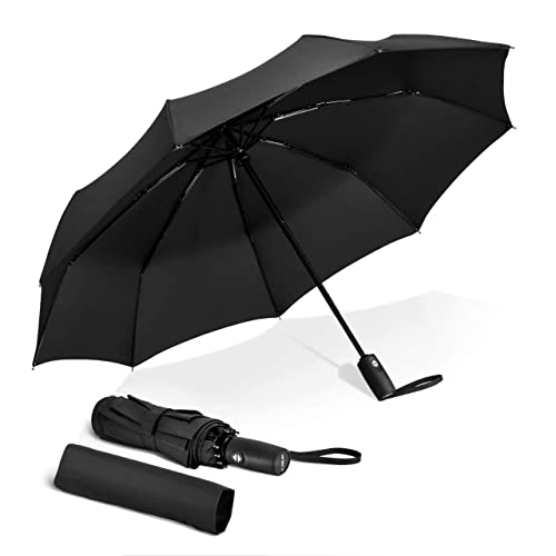 Strong Automatic Portable Folding Umbrella Windproof Resistant With Crook Handle
