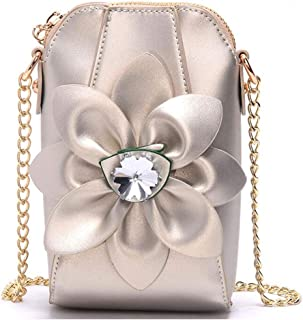 Khouses Ms. mobile phone bag mini bag chain shoulder bag rhinestone flower shoulder bag (Color : Champagne, Size : 11 * 6.5 * 18cm)