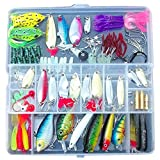 TOOGOO 100 Fishing Lures Spinners Plugs Spoons Soft Bait Pike Trout Salmon+Box Set