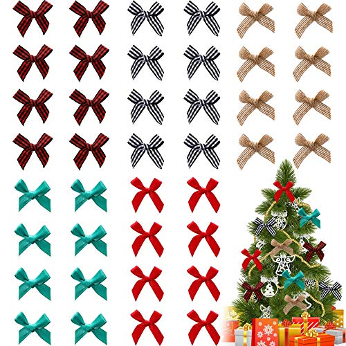 80 Pieces Christmas Ribbon Bows Mini Craft DIY Ribbon Bows Flower Appliques Bows in Multiple Styles for Sewing DIY Wedding Scrapbooking Wrapping Supplies (Linen, Black and White Check Plaid)