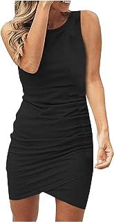 ReooLy Women's mini dress Fashion casual pencil skirt Round Neck Sleeveless party Dress Ball Gown beach dress