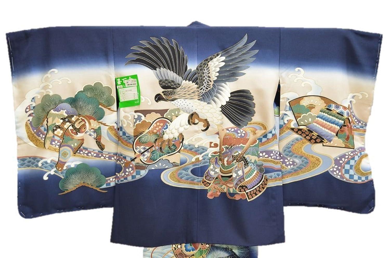 上品な鷹柄 男の子 七五三 羽織 正絹 紺 5歳用 ngs-haori-02