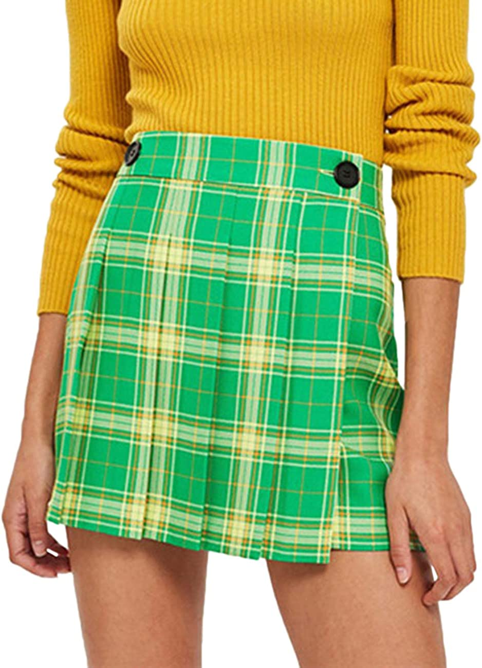 SEMATOMALA Women's High Waist Pleated A Line Mini Skirt School Girl Casual Plaid Button Closure Uniform Skirt