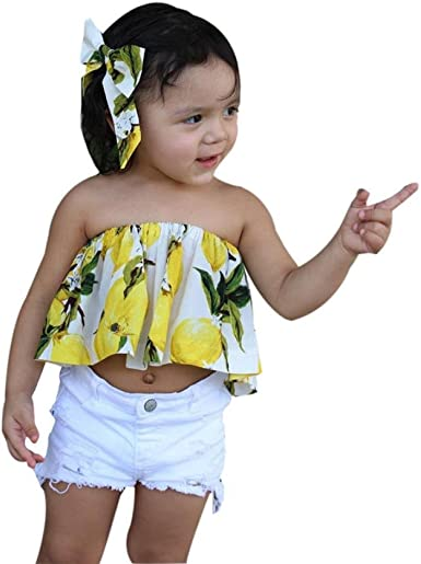 SHOBDW Conjunto Rope para Bebe niña Verano Hombro Camisa para ...