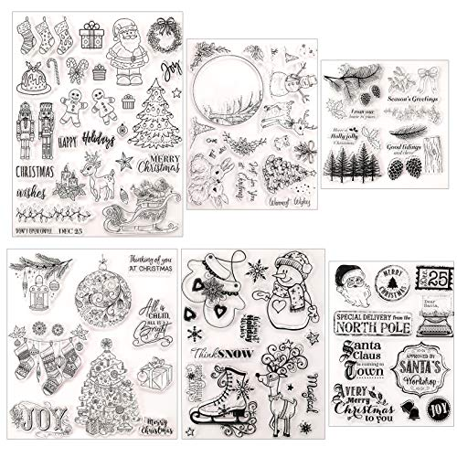 6 Sheets Christmas Theme Clear Stamps Silicone Stamp Cards Christmas Silicone Clear Stamps for DIY Christmas Scrapbooking Card Making Decoration Scrapbooking Album Supplies